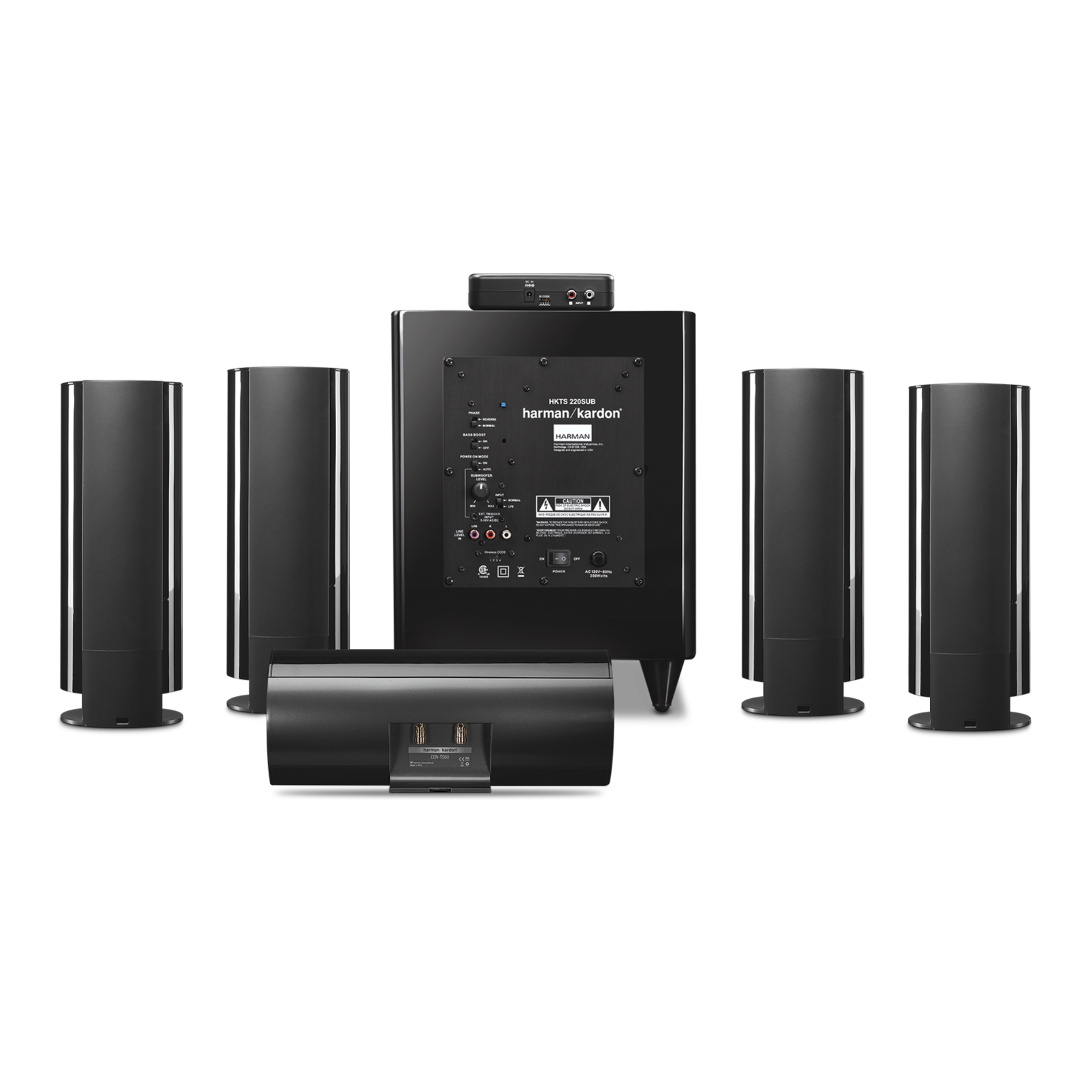 HKTS 65 - Black - A 5.1-channel, home theater speaker system with wireless subwoofer - Back